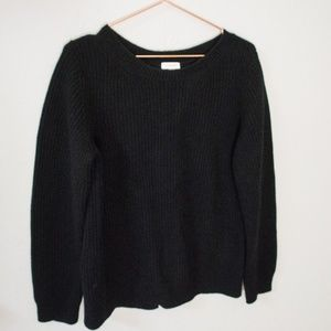 Cuyana Ribbed Open-Back Sweater in Black